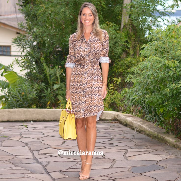 Look de trabalho - look do dia - look corporativo - moda no trabalho - work outfit - office outfit -  spring outfit - look executiva - summer outfit - chemise -chemisier - animal print - bolsa amarela -yellow