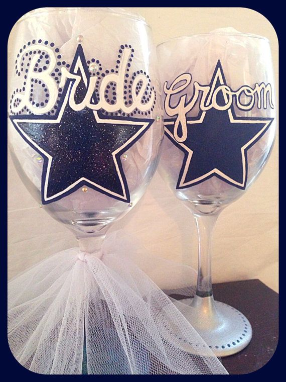 Dallas Cowboys Wedding Glasses Sports Themed by WattsGoodArtistry
