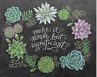 Succulent Wall Art - Spring Decor - Spring Art - Spring Print - Chalk Art - Succulent Print- Succulent Illustration