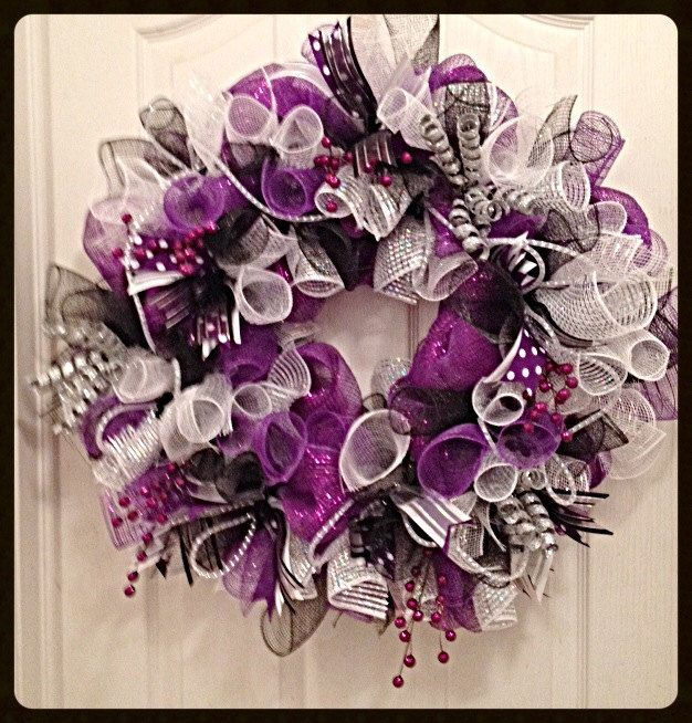 Everyday Deco Mesh Wreath in Purple/Purple, Silver and Black Deco Mesh Wreath by CKDazzlingDesign on Etsy https://www.etsy.com/listing/178528595/everyday-deco-mesh-wreath-in
