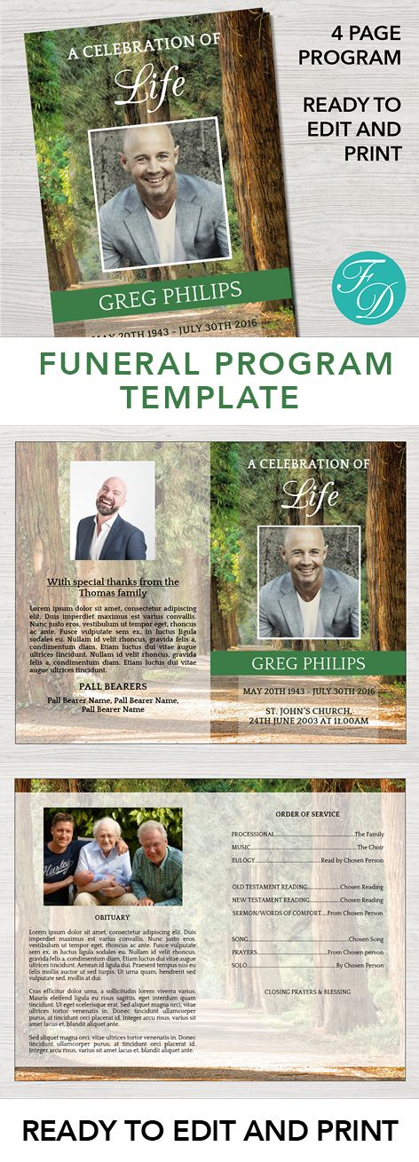 222 best Funeral Programs for Men Obituary Templates \ Prayer - printable funeral program templates