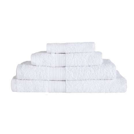 Coloured in a classic and versatile white, this soft and absorbent towel from the essentials range is crafted from 100% cotton with a 350 GSM weight quality. Available in a choice of sizes.
