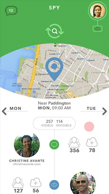 Hi everyone. I've recently done a small concept of an app called Green Spy. The app consists of just a couple of screens and simply allows to track the current location of your followers on the map. Take a look at the home screen GIF animation and its dyn…