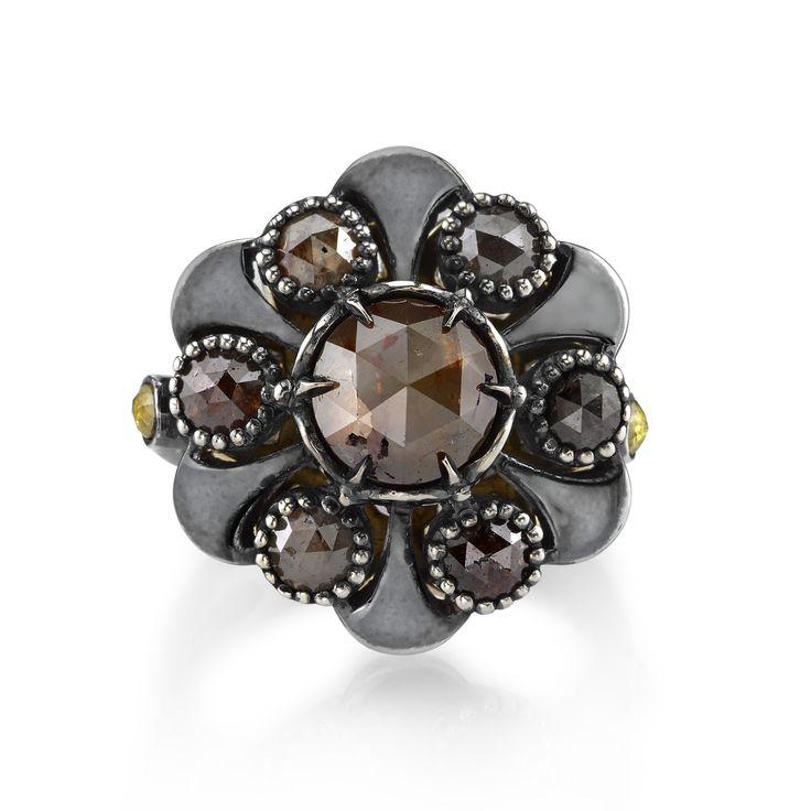Rustic Diamond Organic Silver Flower Ring