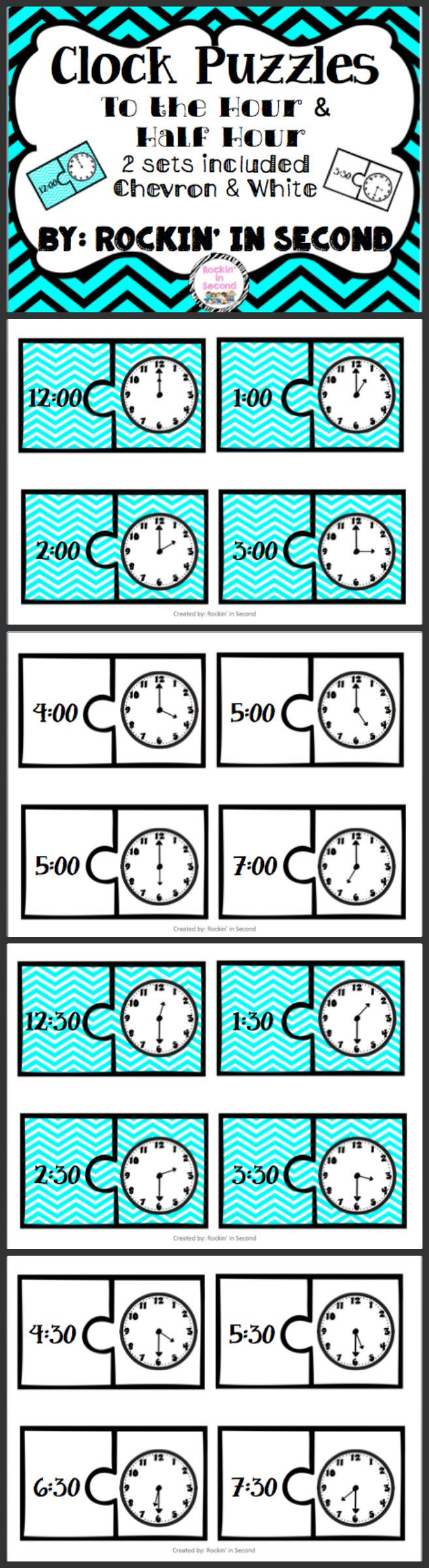 To the Hour and Half Hour Clock Puzzles These 24 puzzles are a great way to reinforce to the hour and half hour clock skills. Use them in small group or place them in a center. Create 2 sets: Use one as a task card to teach and the other cut apart and use in a center. Follow me on TPT for more fun and exciting products and FREEBIES!
