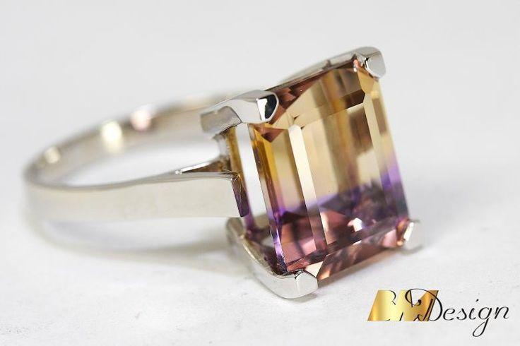Pierścionek z amertynem projekt i wykonanie Bm Design. Zjawiskowy, okazały pierścionek z amertynem. Kolorowy - Biżuteria na indywidualne zamówienie. Amertyn Złoto Diamenty Szafiry Biżuteria Platyna