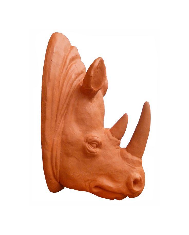 #aplique #pared #cabeza #rinoceronte #rino #naranja #decoración #hogar #ohmicasa www.ohmicasa.com