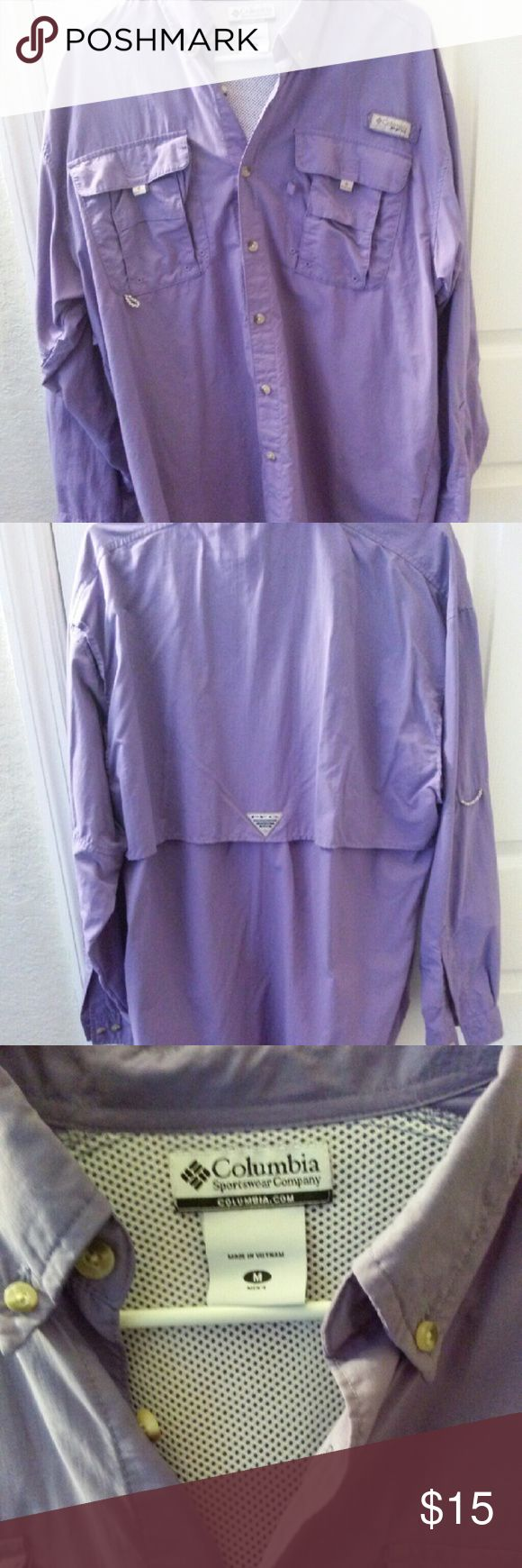 Colombia Sportswear Shirt ? Designed specifically for the needs of anglers, this lightweight, durable nylon shirt dries fast, with mesh-lined cape vents at the back shoulder to keep you cool and built-in UV protection. ? Omni-Shade UPF 30 provides maximum protection for long hours in the sun ? Hidden vents at shoulders add bonus breathability ? Buttons at upper arm to convert to a short sleeve ? Quick dry ? Relaxed fit ? Size Men's Medium ? Color: Purple/Lavender  ? New without tags. Never…