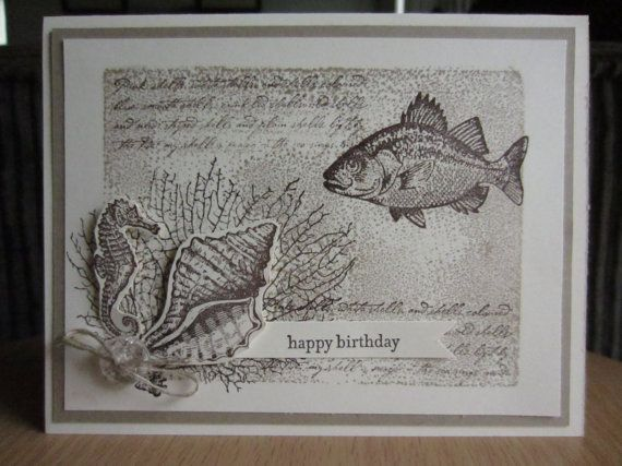 Monochrome Birthday Card Brown Fish Under the Sea Ocean Seahorse Shell Masculine Neutral