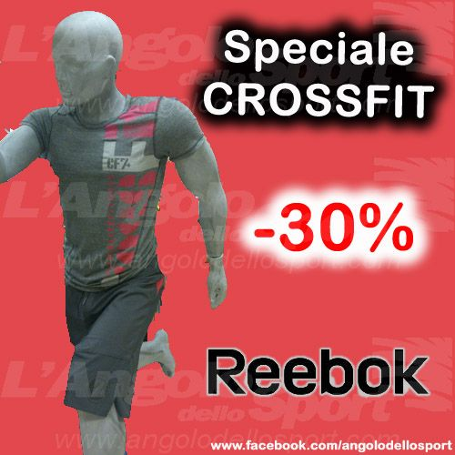 Speciale #Crossfit Reebok Corner  - T-shirt Reebok con doppia cucitura, tessuto anallergico (espelle il sudore e respinge l'umidità) €40,00 -30% = €28,00 - Short Reebok doppia cucitura tessuto anallergico e cordura elasticizzata €69,00 -30% = €48,30  Solo in Via Cesare Fracassini 62!