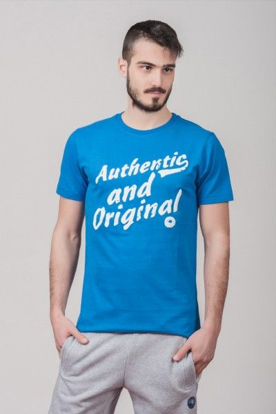 "Ανδρικό T shirt ""Authentic & Original"" Blue"
