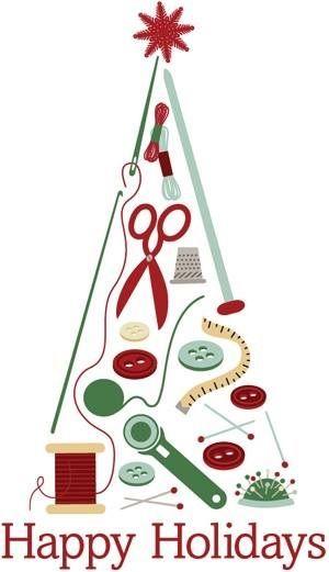 CHRISTMAS HAPPY HOLIDAYS SEWING TREE