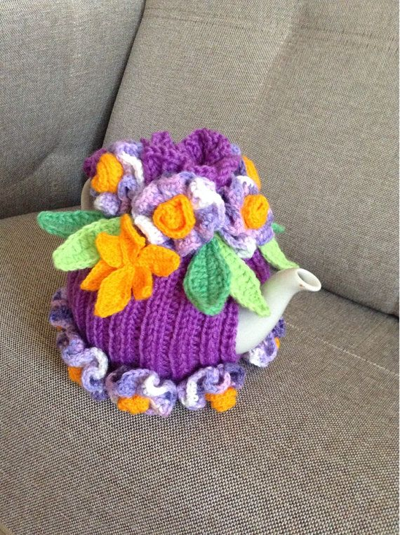 Hand knitted and crocheted tea cozy cosie floral by MagicFibre