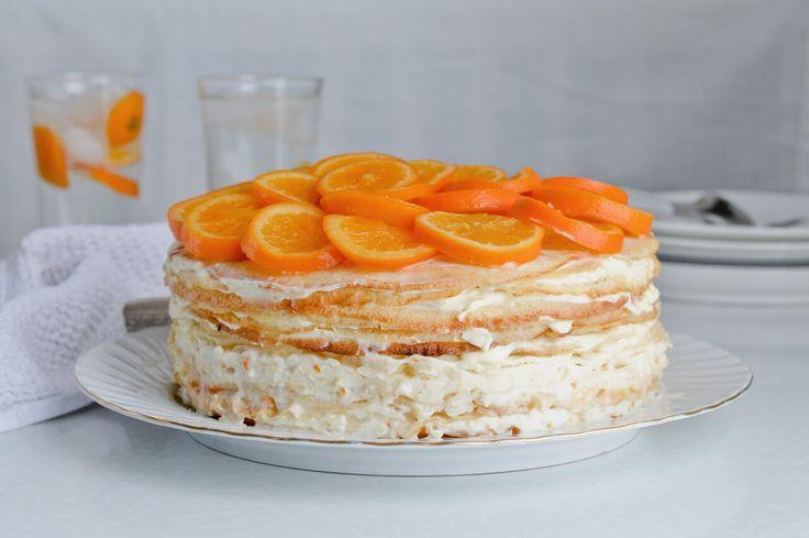 orange ricotta crepe cake - candied orange slices