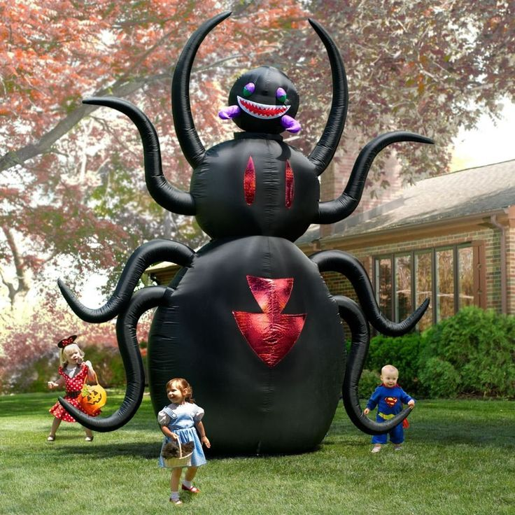halloween inflatable giant 12t x 10w animated spider outdoor yard - Blow Up Halloween Decorations