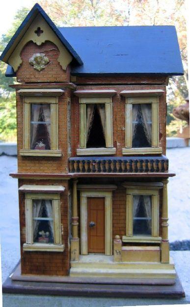 284B: Moritz Gottschalk Blue Roof Dollhouse : Lot 284B, nice style and detail.  .....Rick Maccione-Dollhouse Builder www.dollhousemansions.com