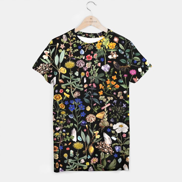 """""""Healing"""" T-shirt by Fifikoussout on Live heroes. #fifikoussout #LiveHeroes #floral #crystals #botanical #t-shirt"""