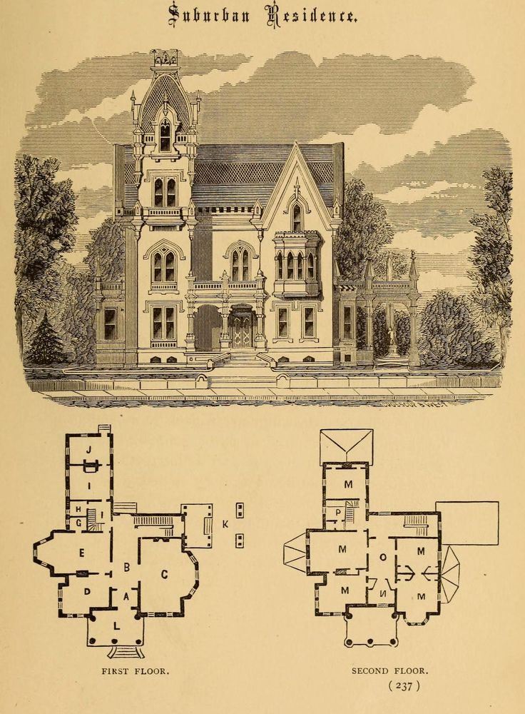 Design for a Suburban Residence Gothic Revival except for the tower, which is more French Baroque/Second Empire