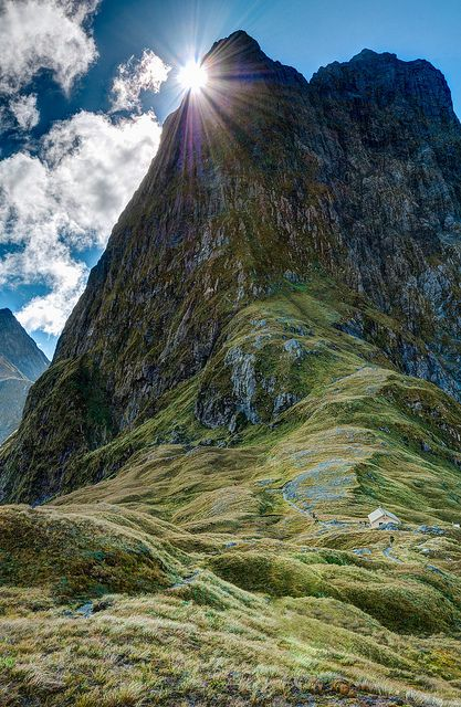 Mt Balloon seen from Mackinnon Pass on the Milford Track in Fiordland National Park - New Zealand