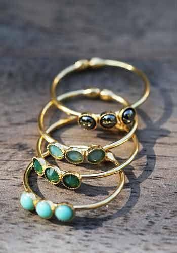 Bague triolet, turquoise, hématite, chrystal, création bijou 5 Octobre pour l'Atelier des Bijoux Créateurs.