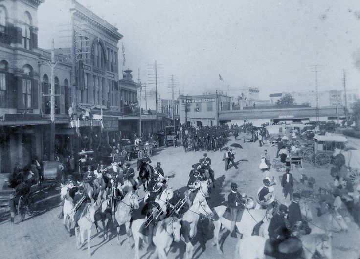"""Buffalo Soldiers"" on parade, 1890, San Angelo, Texas."