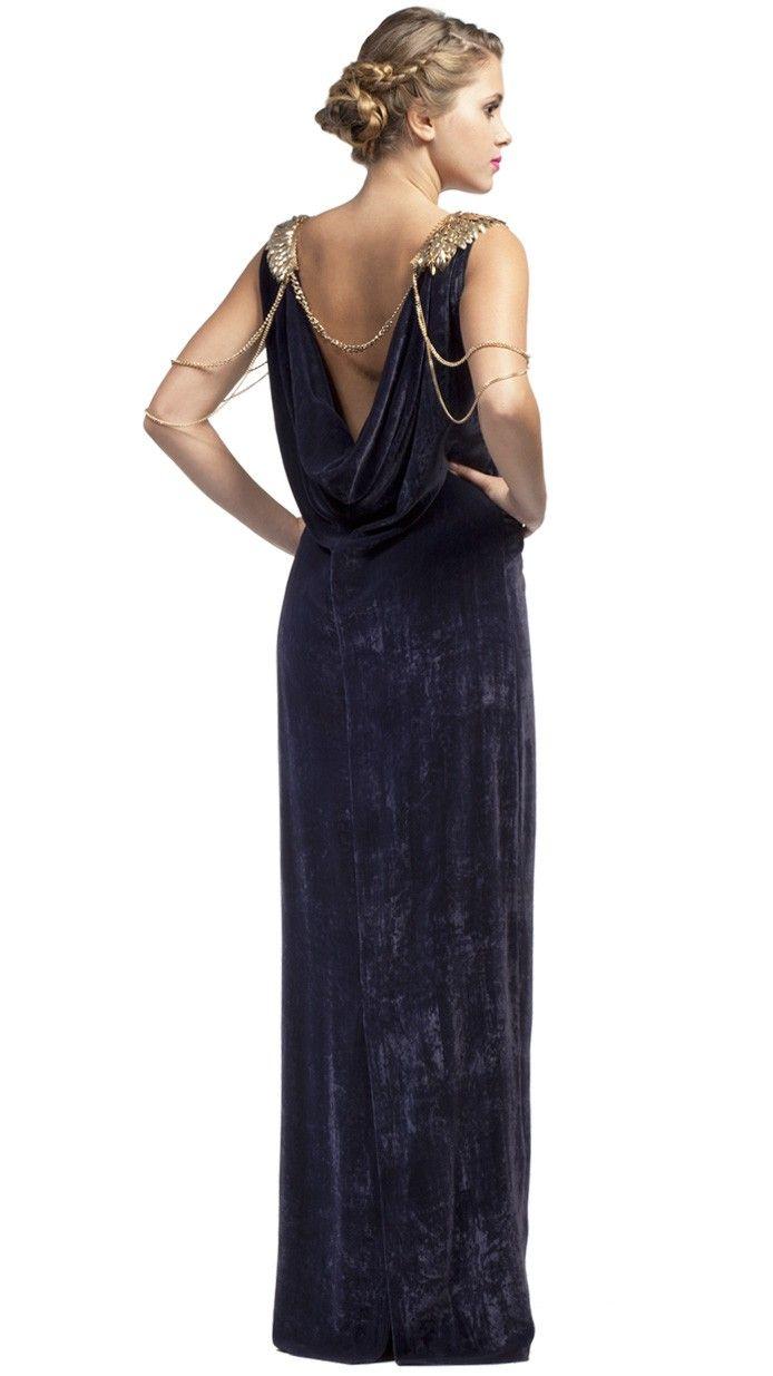 ANGEL SCHLESSER Vestido de fiesta de noche largo azul terciopelo - blue velvet party long dress - Invitadas de boda - wedding - Dresseos