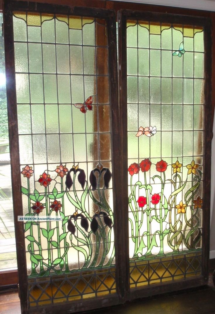 Antique stained glass doors - Fabulous Antique Stained Glass Windows 1900 1940 Photo