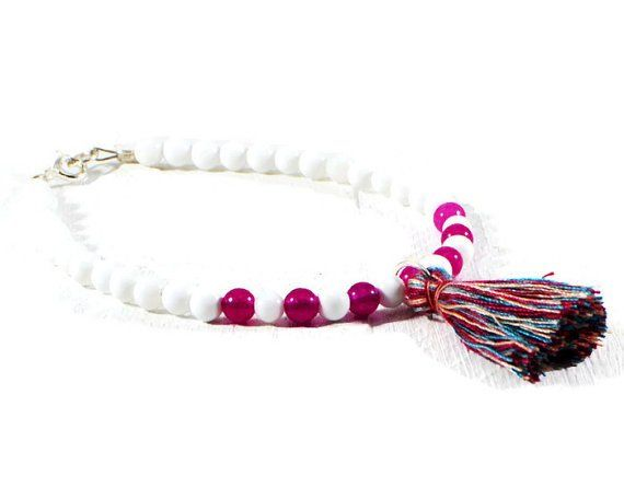 White Onyx And Pink Jade Tassel Bracelet.