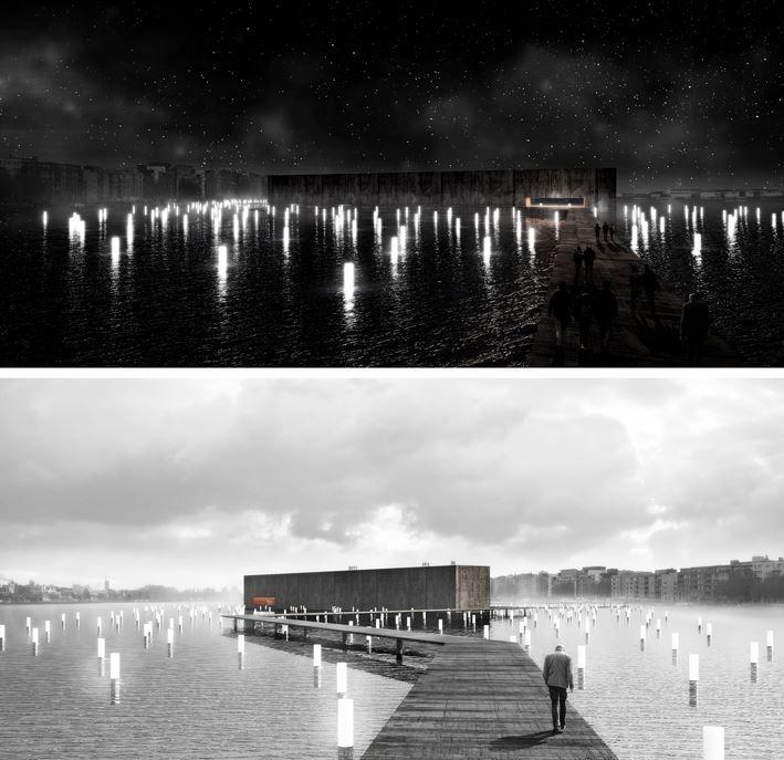 """Proyecto Memorial de las luces flotantes. """"El concurso internacional de ideas MH17 MEMORIAL+PARK se realizó para recordar y honrar a las víctimas de la tragedia del vuelo MH17, que sucedió en los cielos de Ucrania"""". El parque es un inmenso manto de estrellas que acaricia el río. Al caer la noche se produce la epifanía: … 298 luces emergiendo desde la oscuridad, sin alas, sin cuerpo… Solemne y en silencio una gran Caja Negra parece desaparecer en la oscuridad conmemorando a los que ya no…"""