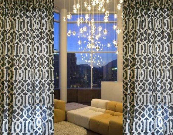 Custom Made Drapes Gray Black and Cream Curtains by draperyloft, $185.00