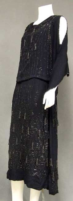 Shimmering Heavily Beaded 1920's Navy Crepe Cocktail Dress - Vintageous, LLC