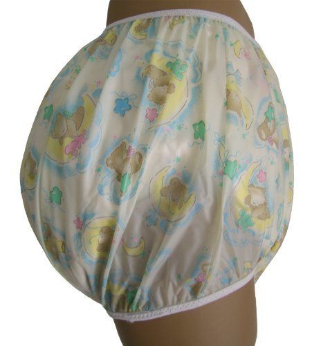 Baby Pants Sleepy Bear Adult Pullon Plastic Pants - Two Extra Large by Baby Pants. $17.24. The Baby Pants pullon Sleepy Bear plastic panties are a slightly translucent milky white plastic with sleepy baby bear the moon and stars print plastic pant. These comfortable baby pants are worn over cloth diapers and are just as effective as the ones that little babies wear. The legs are forward facing providing plenty of room in the bottom area for doubled night diapers. The...