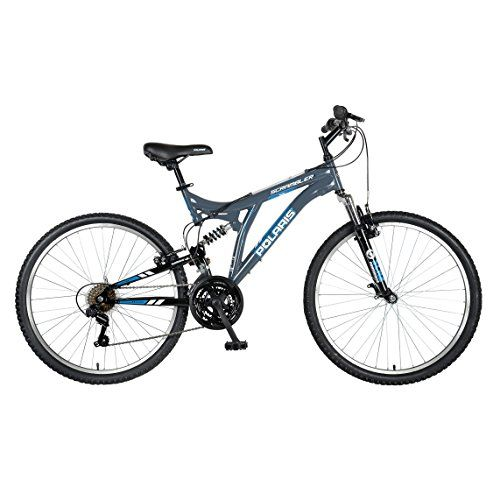 Polaris Scrambler Full Suspension Mountain Bike 26 inch Wheels 195 inch Frame Mens Bike Grey *** You can find out more details at the link of the image.
