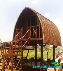 gazebo tingkat minimalis dengan desain atap lengkung