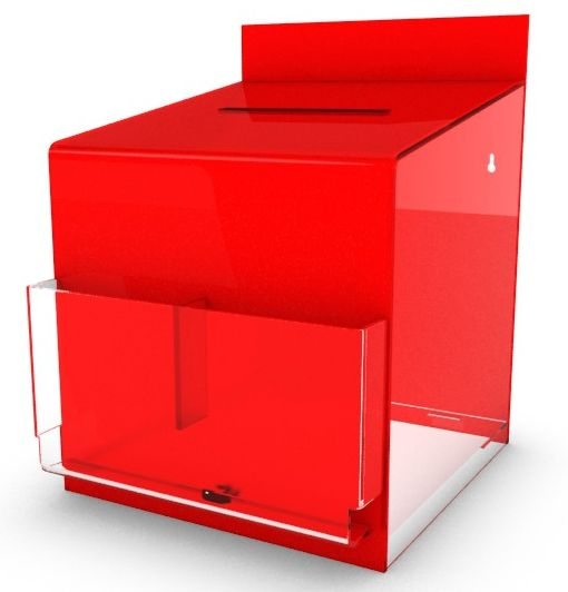 Red Suggestion Box With Clear Pockets, Counter or Wall Mountable