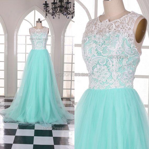Mint Bridesmaid Dresses Lace Prom Dress Long Prom by HGDDress