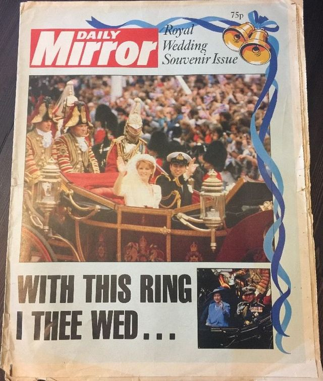 Daily Mirror July 1986 Prince Andrew & Fergie royal Wedding