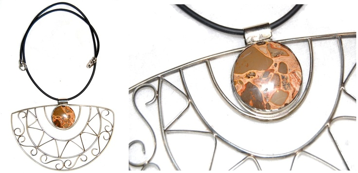 Collar de plata alemana con jaspe leopardita   Alhajas o cosas valiosas
