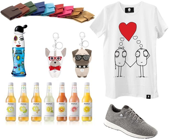 Tip early 2018: Sporty look and healthy lifestyle are probably on many to-do-lists in the early days of the new year. The fashion for sports in everyday life...: Handmade wallets by R. Horn; eau de toilette 'So Real' from the 'Cheap & Chic' line by Moschino; Swarovski dogs Bruno and Roxie (Photos: © Swarovski); t-shirt 'Love Edition' by Quipster (Photo: © Quipster);  SS18 loden-sneaker 'Dach-Steiner' by Dachstein; juice (60%) / sparkling natural spring water (40&) beverages by 'Pona'. ...