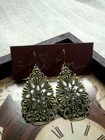 lovely filigree earrings in Burnished Brass.