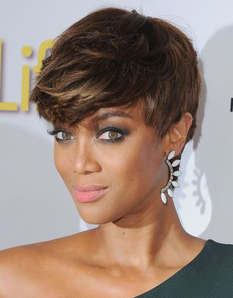 The 38 Most Iconic Pixie Cuts of All Time: TRYA BANKS: In Beverly Hills, CA, 2015. As the queen of looking fierce, Tyra effortlessly pulls of a short hairstyle. While also smizing.