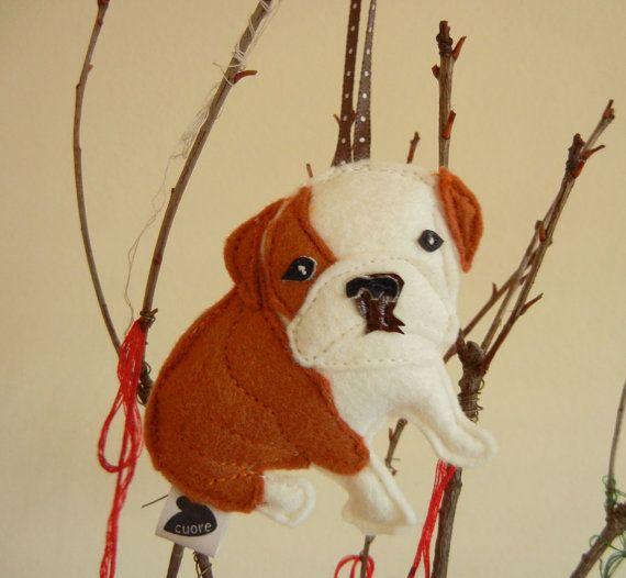Boris the English Bulldog Dog Wool Felt Applique by Cuore on Etsy, $13.00