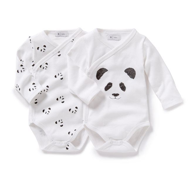 Pack of 2 Long-Sleeved Newborn Cotton Bodysuits R baby