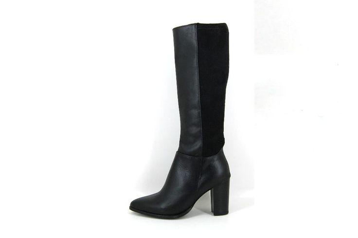 Puntige+elastische+leren+laarzen+-+Elegant+&+Stoer!+Lange+laarzen+met+spitsere+neus+op+stoere+hoge+hak+-+voorkant+zwart+glad+leer+-+achterkant+luxe+elastische+suedine+voor+perfecte+aansluitng+-+rits+aan+binnenzijde+-+voet+en+voorkant+leer+gevoerd+-+kleine+maten+7+cm+hak+-+grote+maten+9+cm+hak+-+uniek!+Ondanks+spitsere+neus....genoeg+ruimte+voor+de+voet+-+ook+als+enkellaarzen+(1652)+