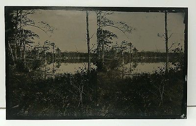 Antique Stereoptic Large Outdoor Nature Lake Tintype Photograph