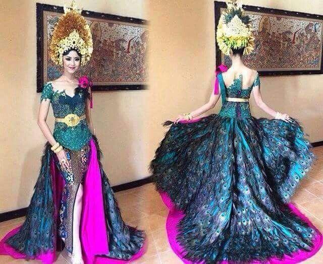 Miss Indonesia in beautiful modified kebaya. Photo via Wansanti Bali (FB)