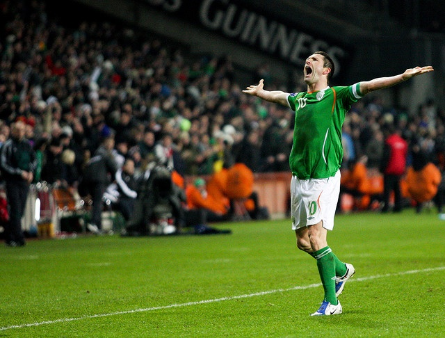 Ireland captain Robbie Keane celebrates scoring the winning goal in Irelands 2-1 win over Georgia at Croke Park.