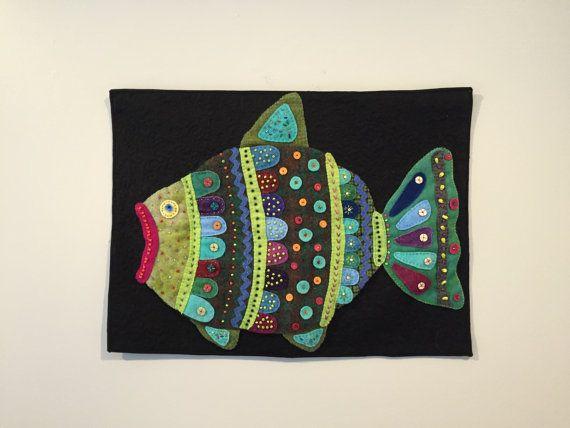 Vis vis kunst textiel kunst quilt kunst van JannekeQuilts op Etsy