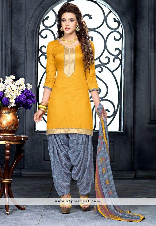 Mesmerizing Mustard Cotton Patiala Salwar Suit                              …