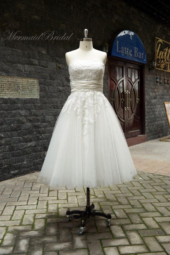 2013 Ivory Outdoor/ Destination wedding dress, Vintage lace wedding dress, Tea length wedding gowns, Ball gown on Etsy, $238.99